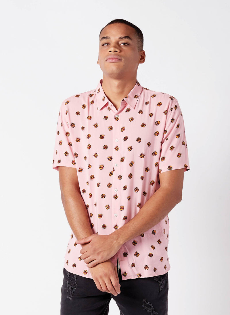 Holiday Short Sleeve Shirt Pink Burgers