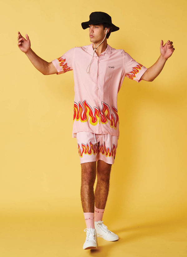 Holiday Camp-Collar Shirt Pink Flames