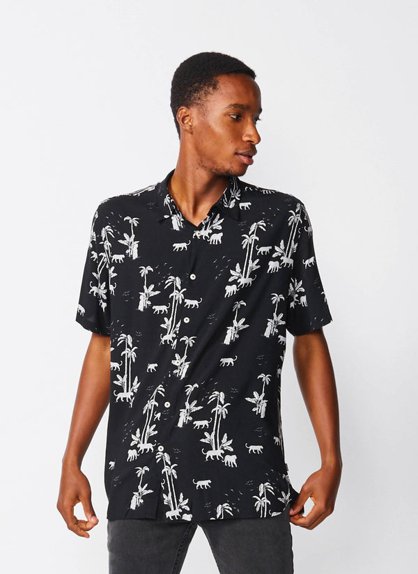 Holiday Short Sleeve Shirt Black Tiger