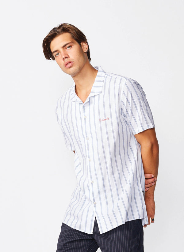Holiday Camp-Collar Shirt White Stripe