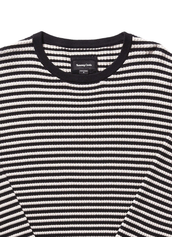 Warm Crew Knit Black Stripe