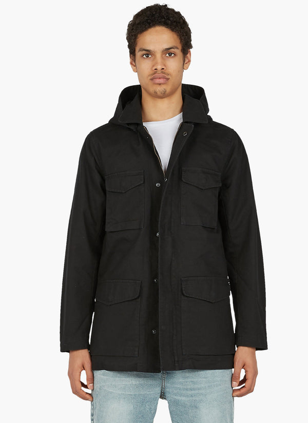 B.Covered Parka Jacket Black