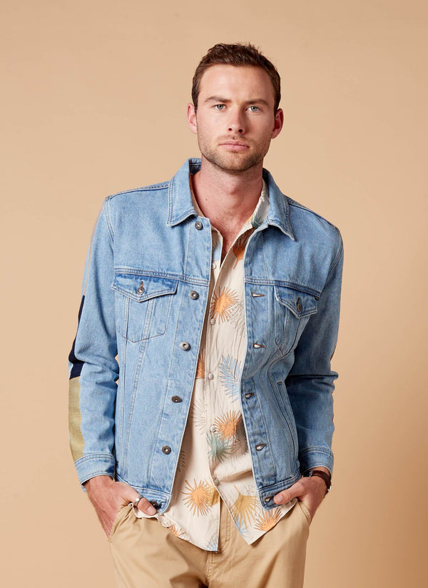 B.Rigid Denim Jacket Stonewash Trim