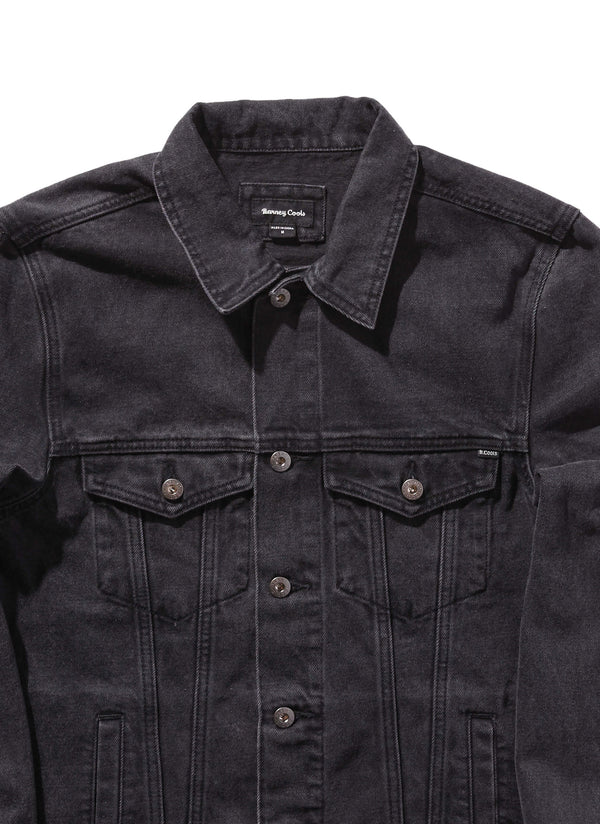 B.Rigid Denim Jacket Black Embro