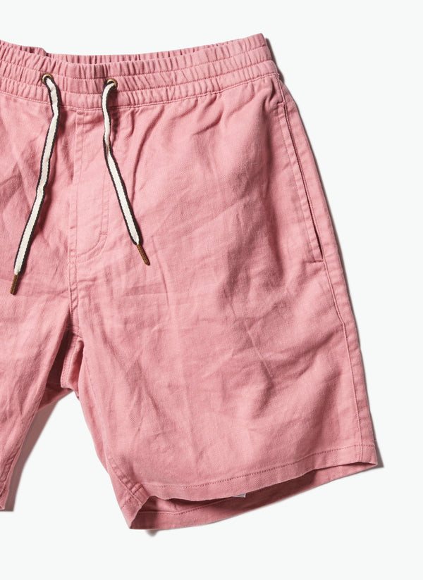 B.Relaxed Elastic Short Rose Linen