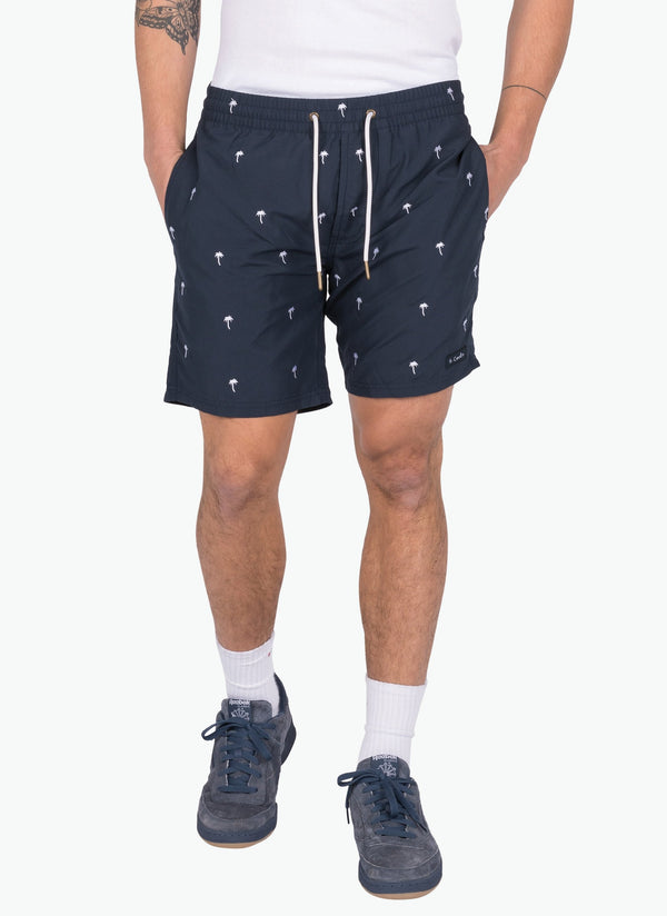 "Poolside 17"" Short Palms Embro Navy"