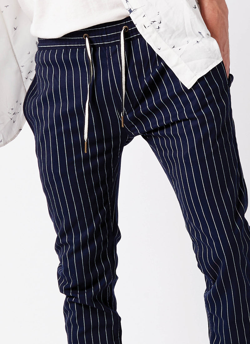 B.Slim Elastic Chino Navy Stripe
