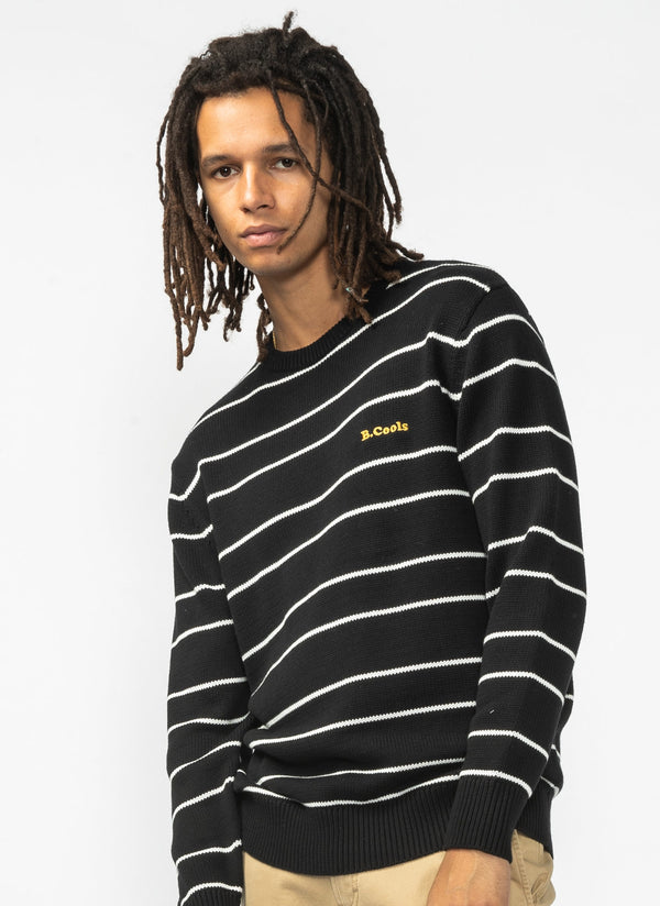 B.Cools Retro Crew Knit Black Stripe