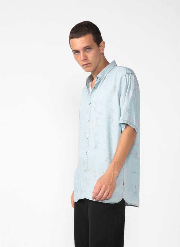 Holiday Short Sleeve Shirt Indigo Tiger