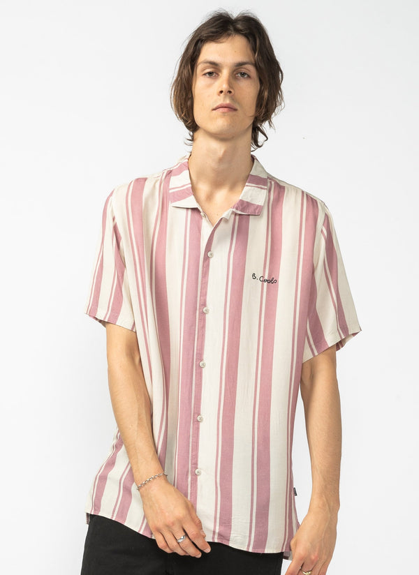 Holiday Camp-Collar Shirt Rose Stripe