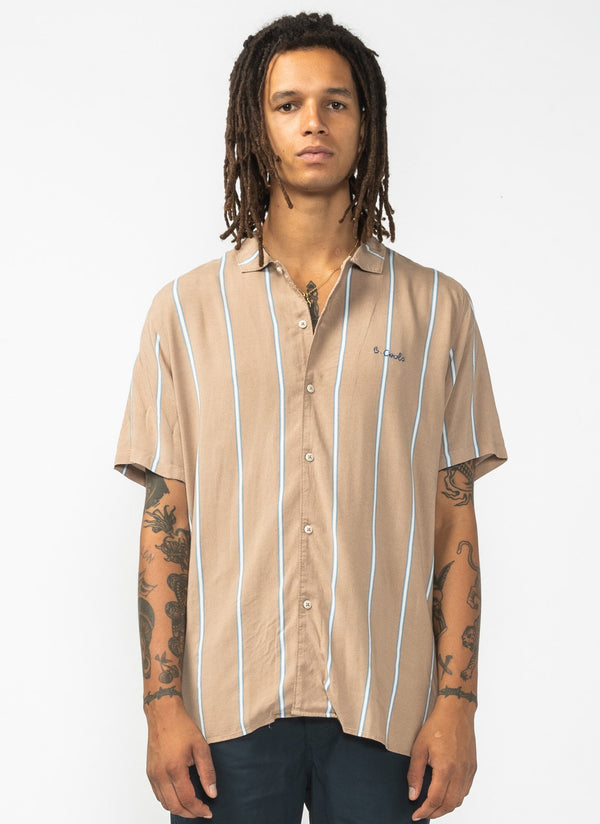 Holiday Camp-Collar Shirt Beige Stripe