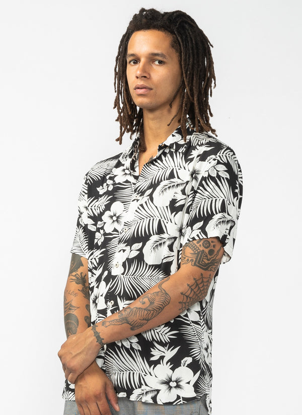 Holiday Short Sleeve Shirt Black Floral