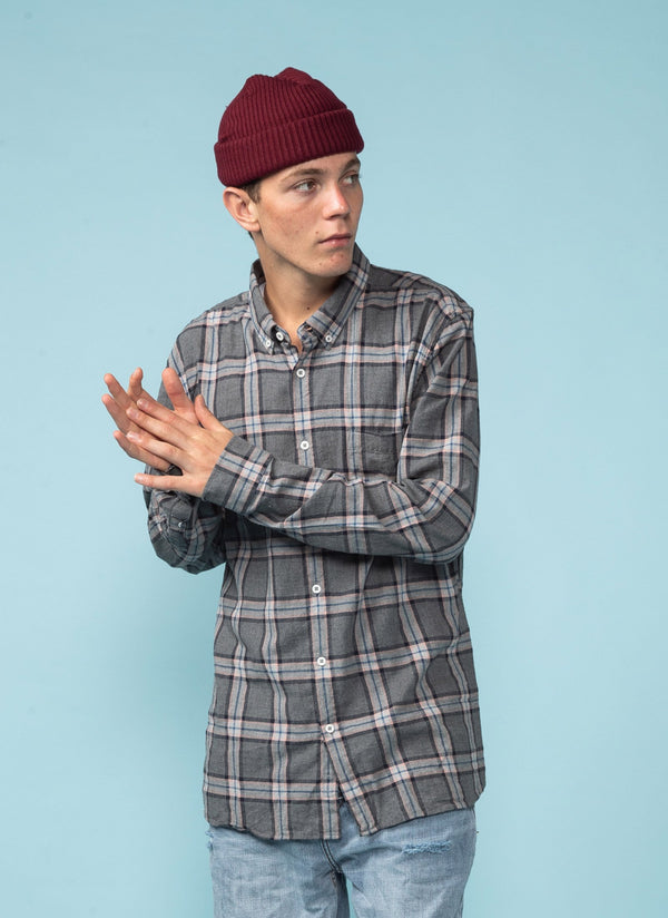 Cabin Long Sleeve Shirt Charcoal Plaid