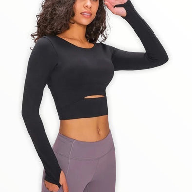Cropped Long Sleeve with Thumbholes