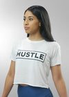 Cropped raw edge Hustle Tee