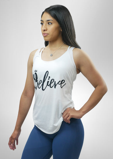 Believe White Tanktop