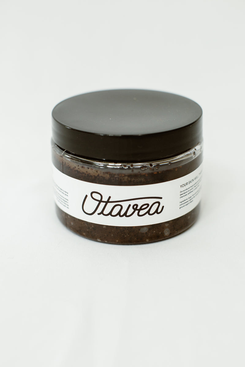 12oz jar of Chocolate Coffee Body Scrub from Otavea