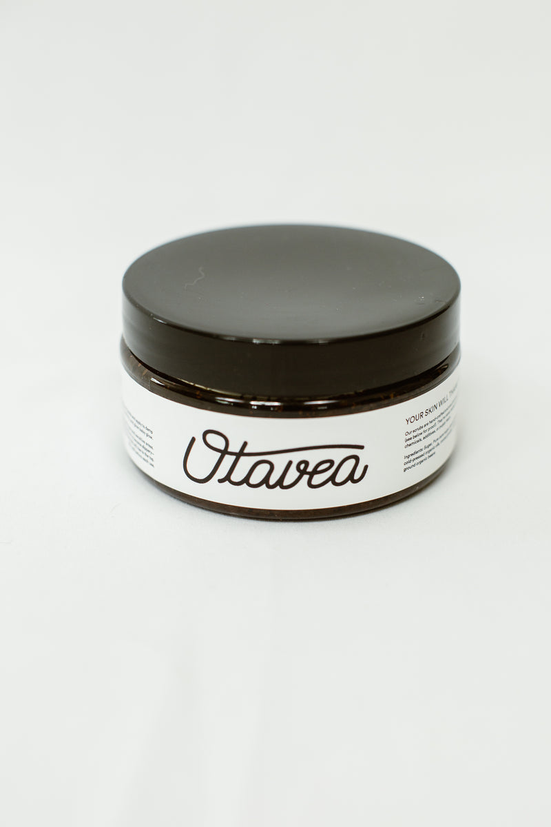 8oz jar of Chocolate Coffee Body Scrub from Otavea