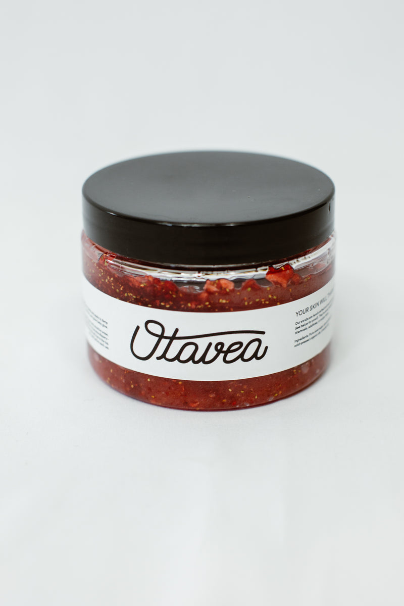 12oz jar of Strawberry Body Scrub from Otavea