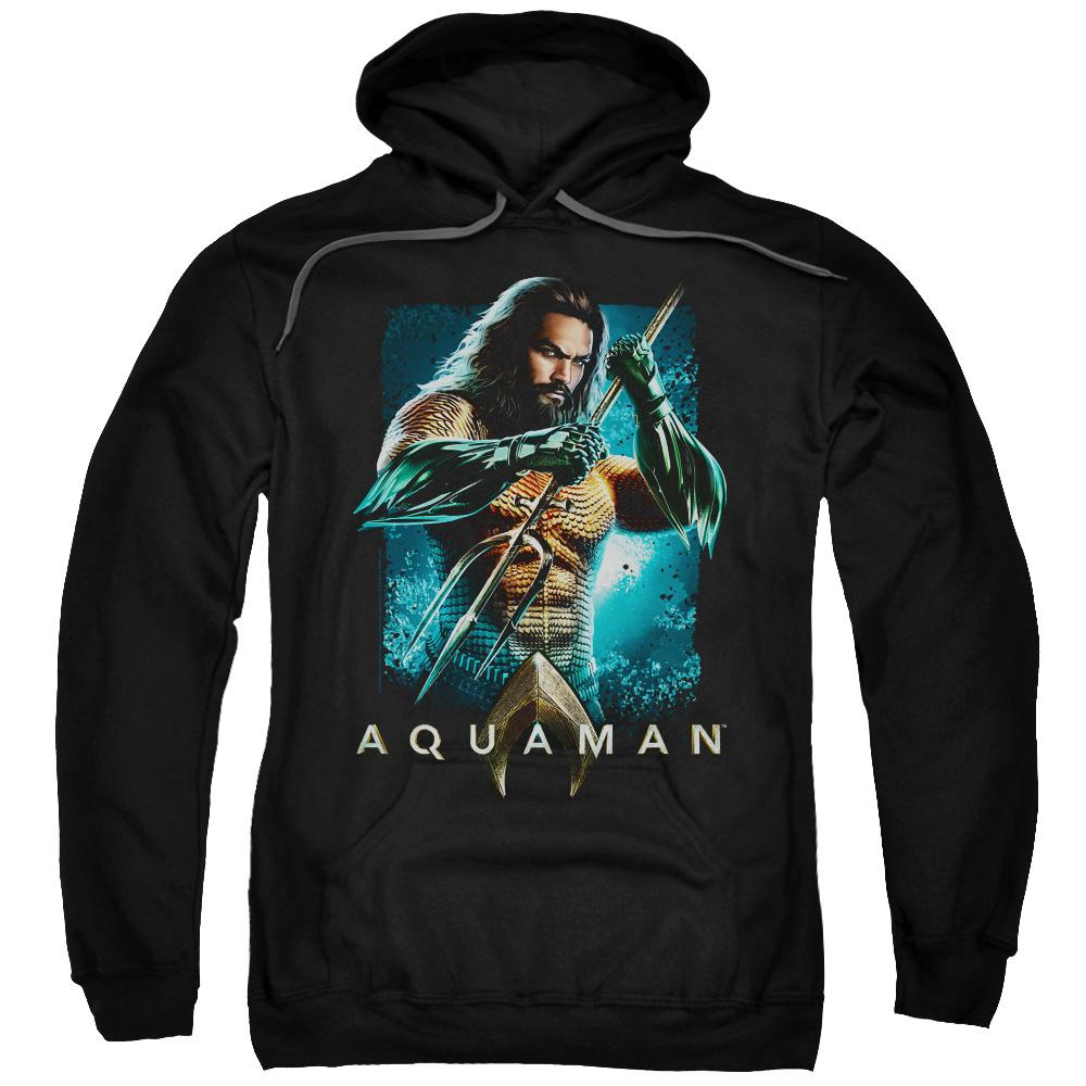 aquaman-movie-jason-momoa-holding-a-trident-adult-hoodie-in-black.
