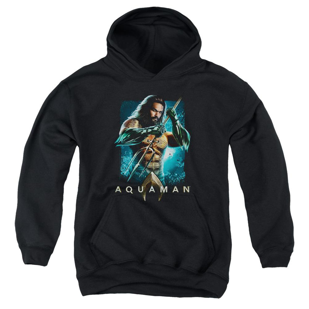 aquaman-movie-jason-momoa-holding-a-trident-youth-pull-over-hoodie-in-black