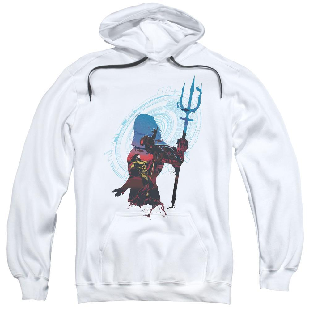 aquaman-movie-cartoon-silhouette-of-aquaman-holding-a-trident-hoodie-in-white