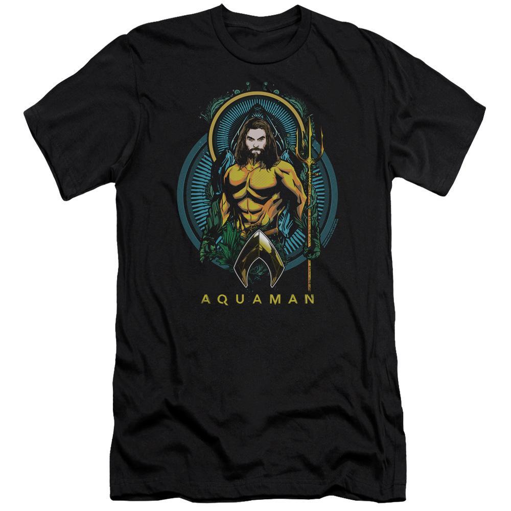 aquaman-movie-sketch-of-aquaman-holding-the-trident-premium-canvas-brand-t-shirt-in-black