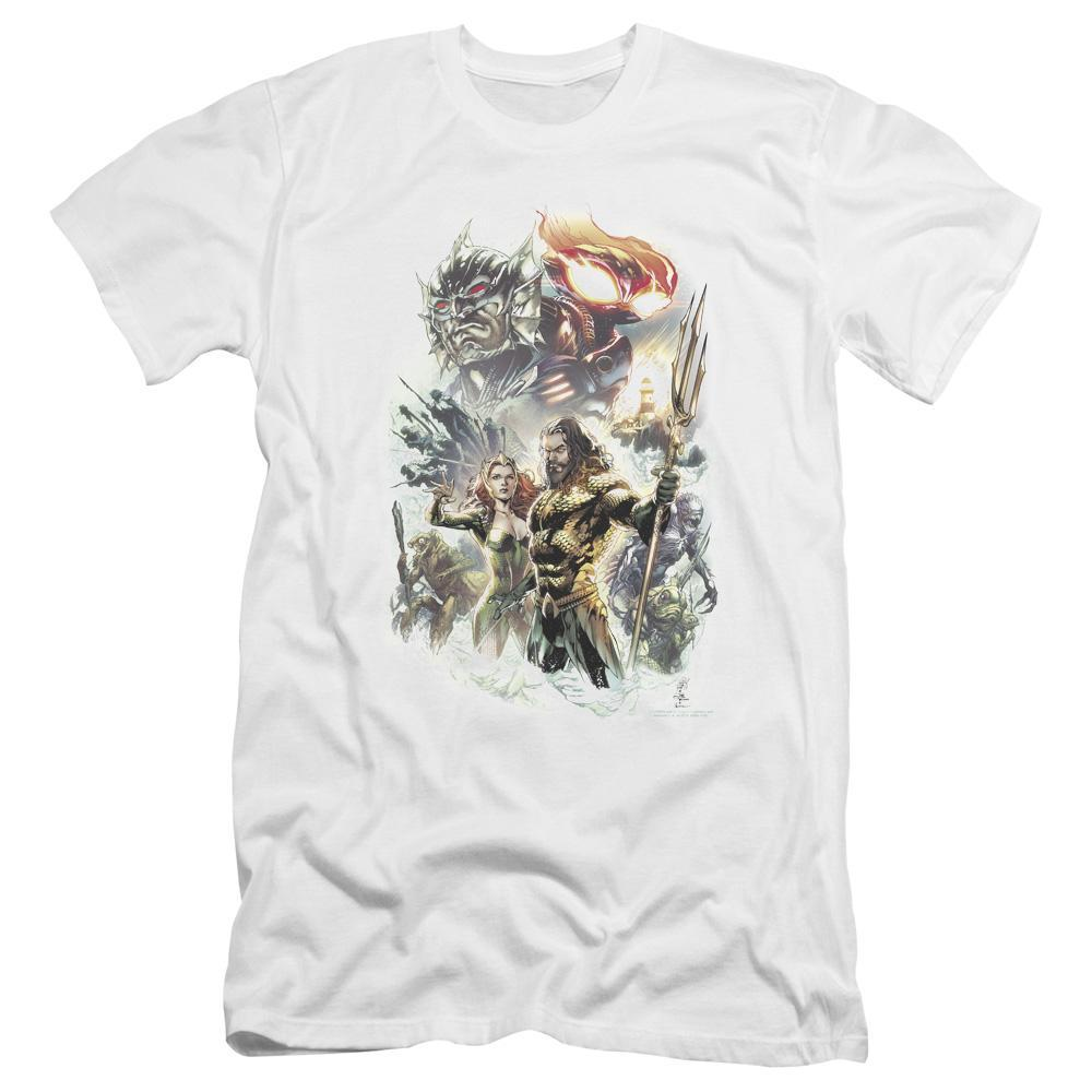 aquaman-movie-jason-momoa-holding-the-trident-standing-with-mira-premium-canvas-brand-t-shirt-in-white