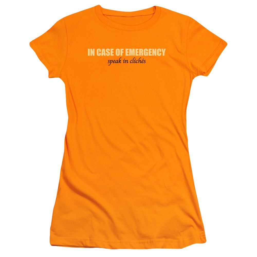in-case-of-emergency-speak-in-cliches-premium-bella-brand-t-shirt-in-orange