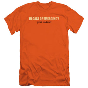in-case-of-emergency-speak-in-cliches-premium-canvas-brand-adult-t-shirt-in-orange