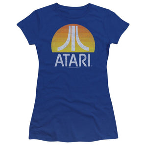 atari-logo-sunrise-eroded-premium-bella-brand-t-shirt-in-blue