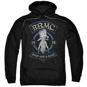 betty-boop-riding-a-motorcycle-adult-hoodie-in-black