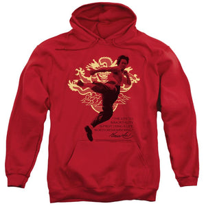 bruce-lee-flying-kick-adult-hoodie-in-red
