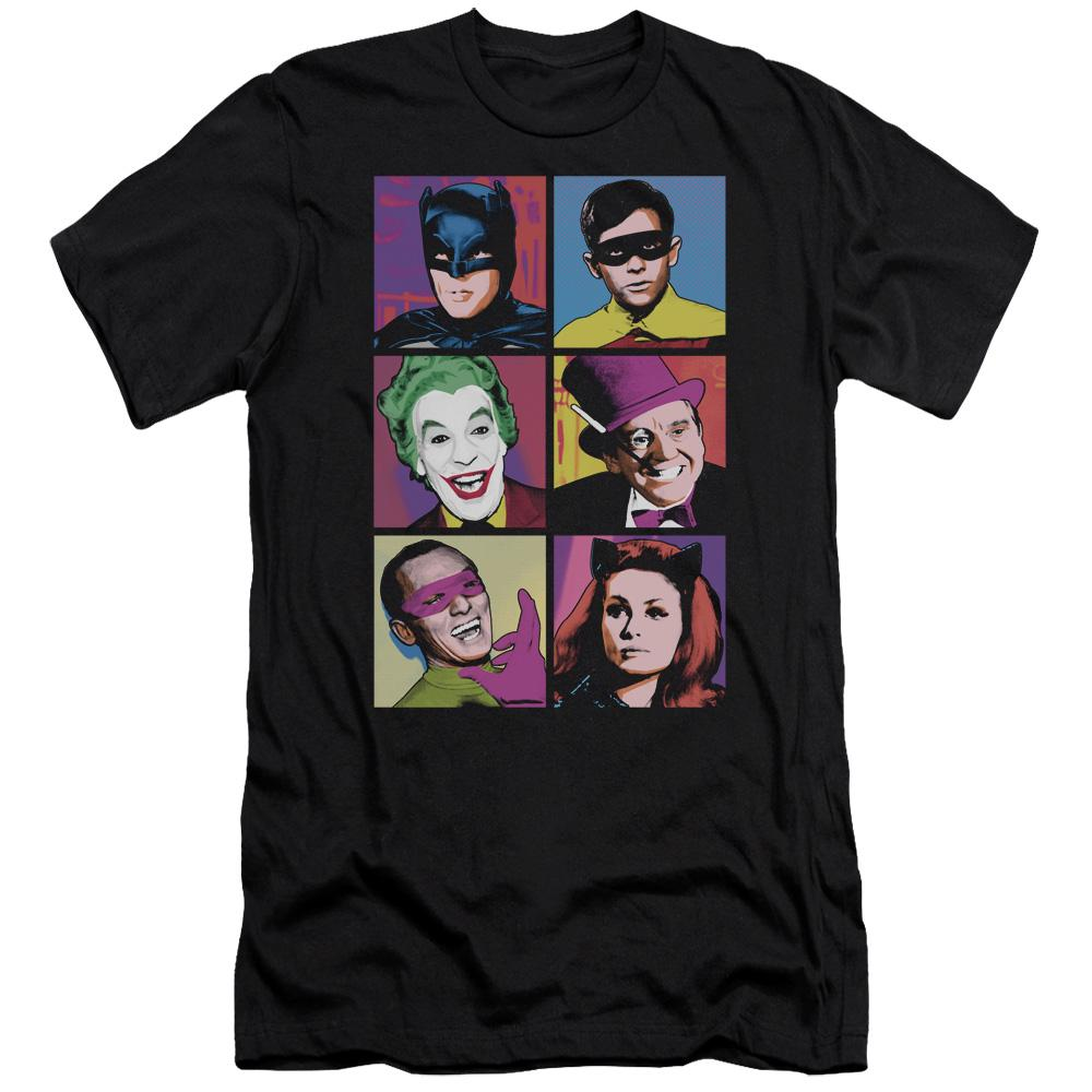 classic-batman-joker-riddler-robin-and-catwoman-premium-canvas-brand-adult-t-shirt-in-black