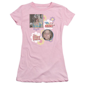 brady-bunch-tv-show-scene-where-marsha-brady-gets-hit-in-the-nose-by-a-football-with-the-words-oh-my-nose-premium-bella-brand-t-shirt-in-pink