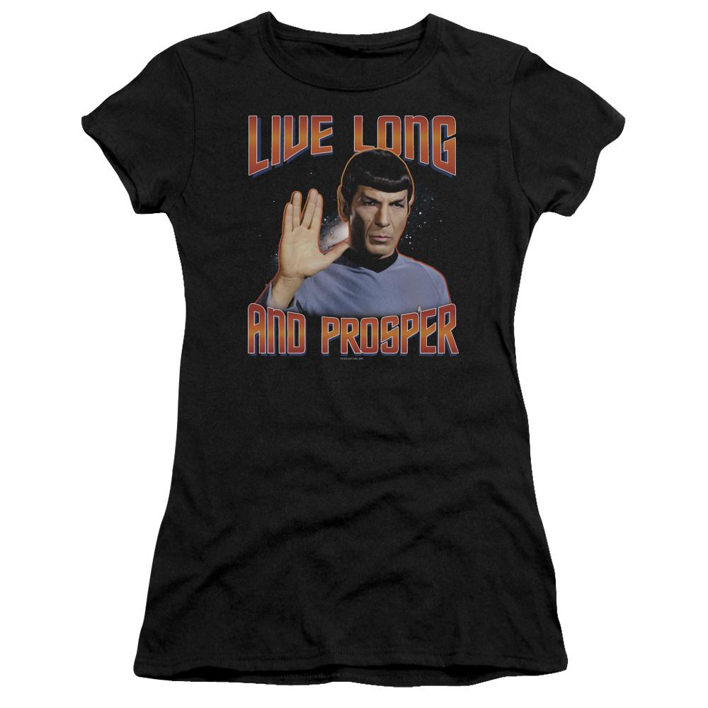 spock-giving-the-vulcan-salute-live-long-and-prosper-premium-bella-brand-t-shirt-in-black