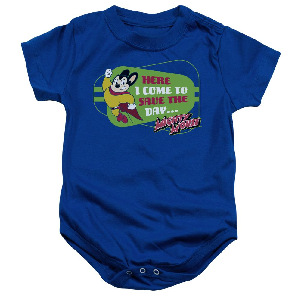 mighty-mouse-posing-with-the-words-here-i-come-to-save-the-day-infant-snapsuit-in-blue