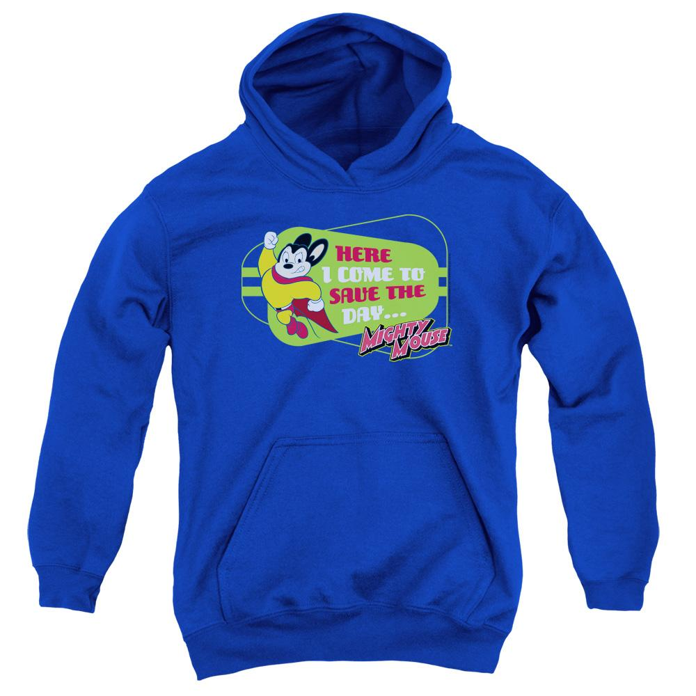 mighty-mouse-posing-with-the-words-here-i-come-to-save-the-day-youth-hoodie-in-blue