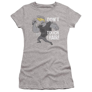 johnny-bravo-don't-touch-the-hair-premium-canvas-brand-t-shirt-in-gray