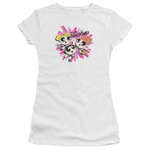 powerpuff-girls-giving-each-other-a-high-five-team-awesome-premium-bella-brand-adult-t-shirt-in-white