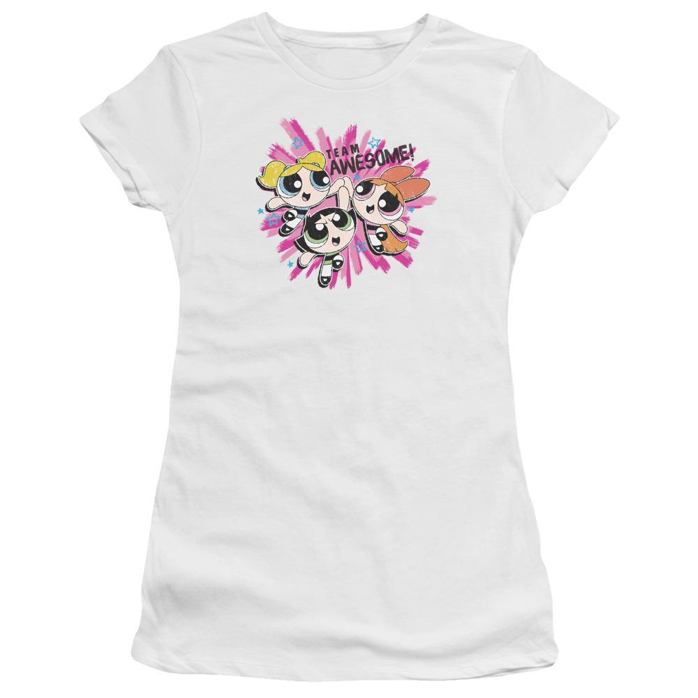 powerpuff-girls-giving-each-other-a-high-five-team-awesome-premium-bella-brand-t-shirt-in-white