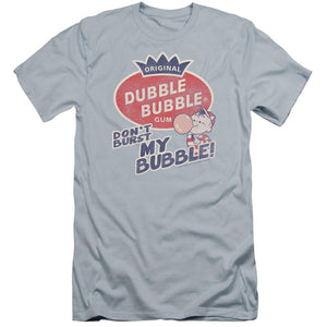 little-boy-blowing-a-bubble-gum-bubble-with-the-don't-burst-my-bubble-dubble-bubble-premium-canvas-brand-adult-t-shirt-in-light-blue