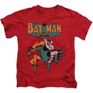 batman-and-robin-fighting-side-by-side-kids-t-shirt-in-red