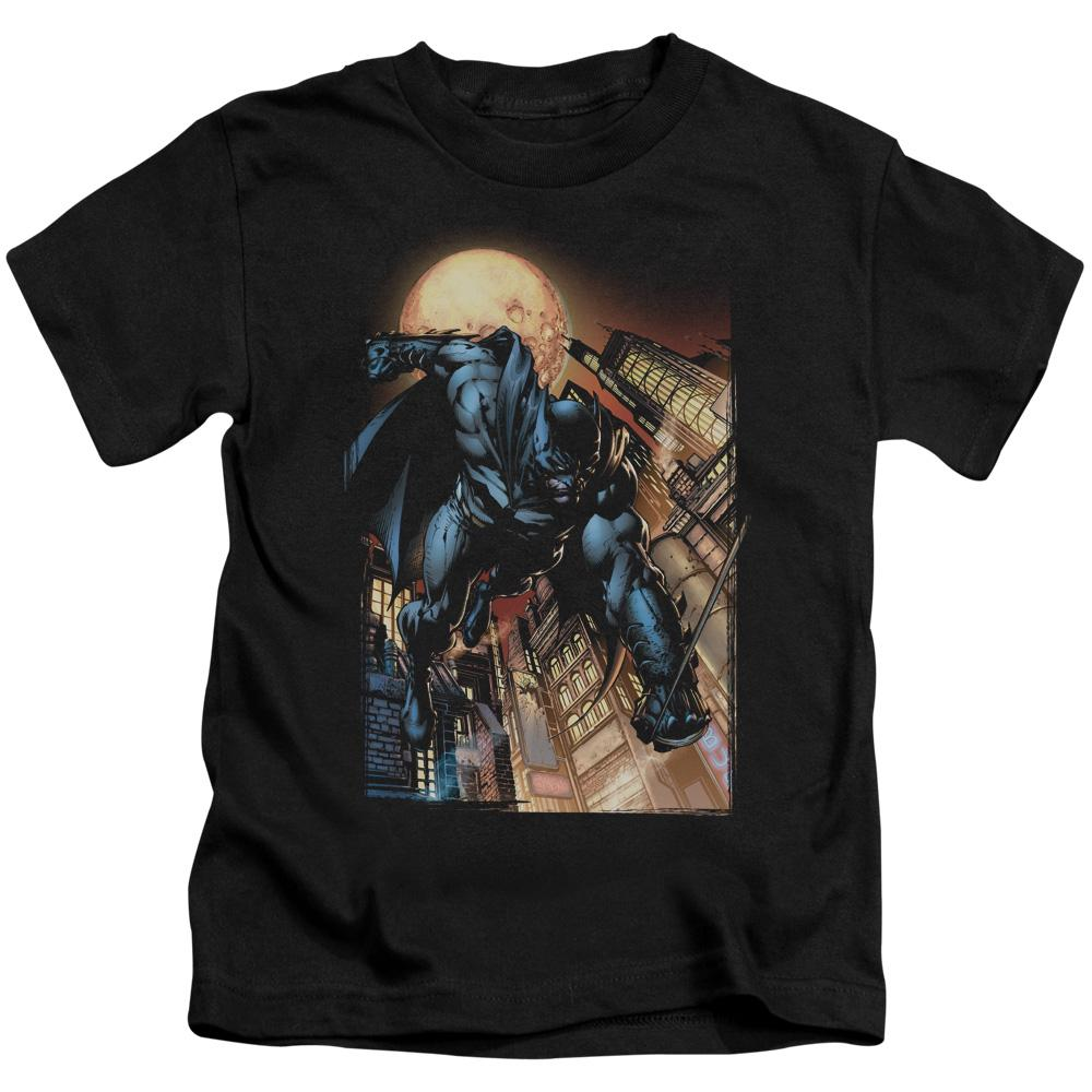shadow-of-batman-jumping-through-lightening-premium-bella-brand-kids-t-shirt-in-black