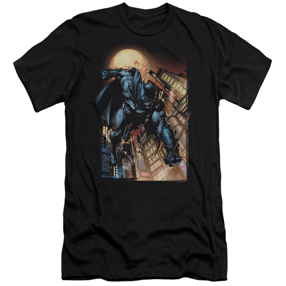batman-flying-through-gotham-at-night-fist-first-premium-canvas-brand-adult-t-shirt-in-black