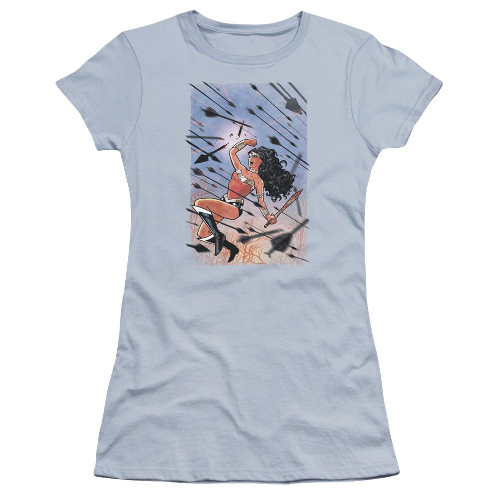 wonder-woman-in-battle-flying-in-the-air-through-a-flurry-of-arrows-breaking-one-of-them-premium-bella-brand-t-shirt-in-light-blue