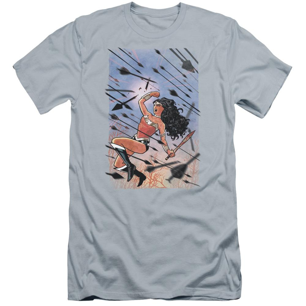 wonder-woman-in-battle-flying-in-the-air-through-a-flurry-of-arrows-breaking-one-of-them-premium-canvas-brand-adult-t-shirt-in-light-blue