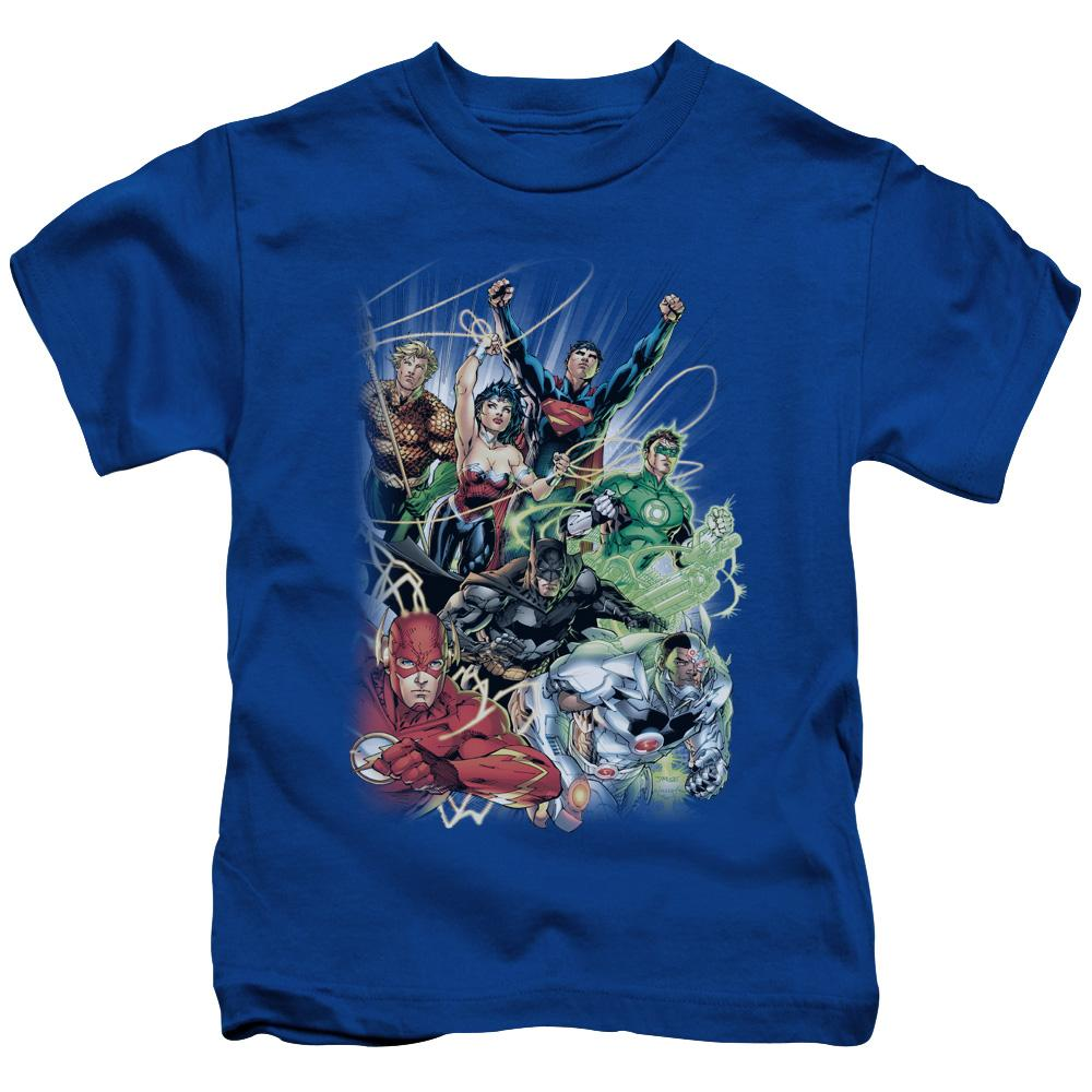 justice-league-team-flying-through-the-air-kid's-t-shirt-in-blue