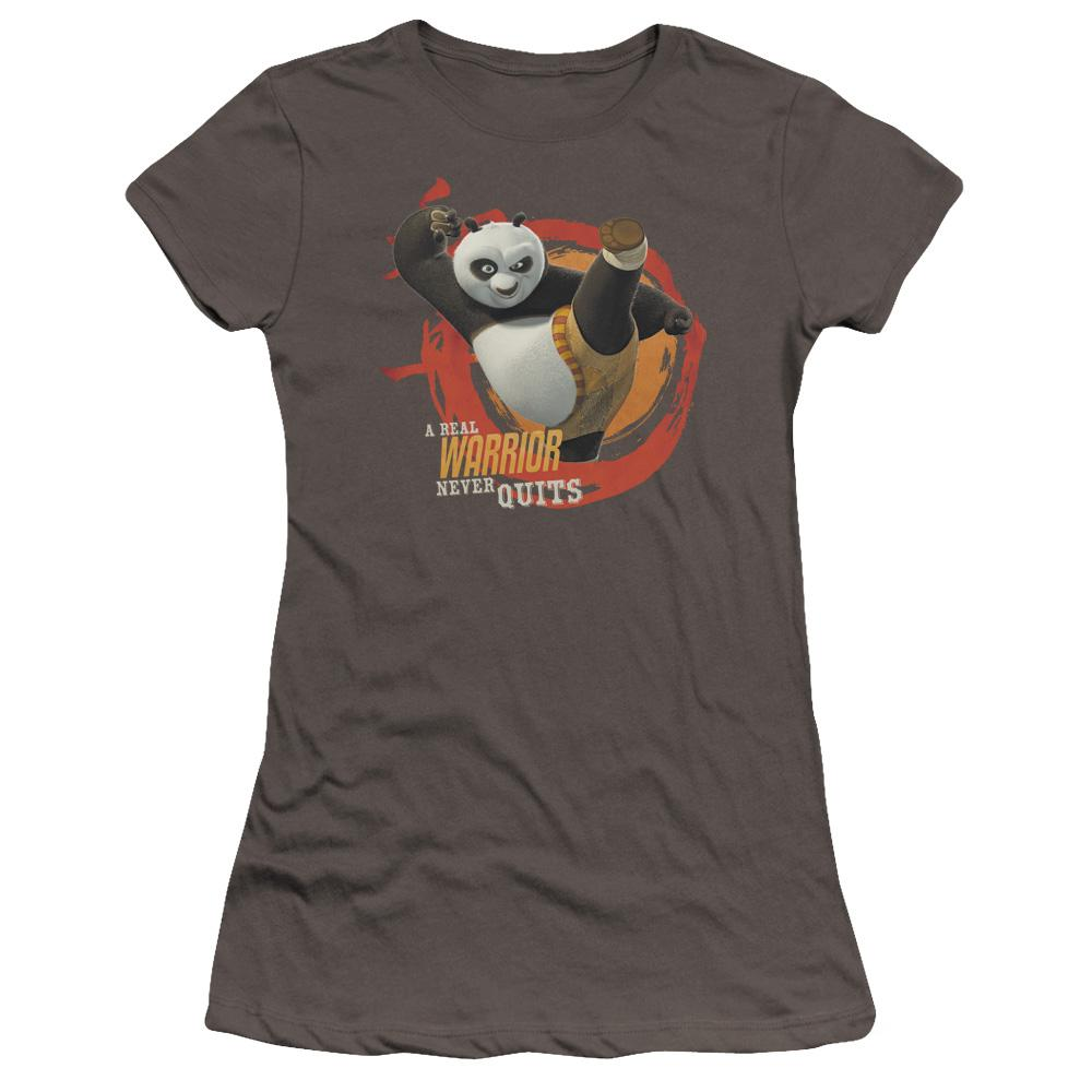 kung-fu-panda-po-doing-a-high-kick-with-the-words-a-real-warrior-never-quits-premium-bella-brand-t-shirt-in-charcoal-gray
