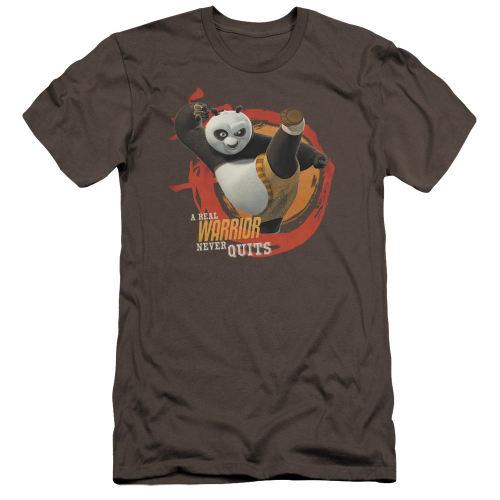kung-fu-panda-po-doing-a-high-kick-with-the-words-a-real-warrior-never-quits-premium-canvas-brand-adult-t-shirt-in-charcoal-gray